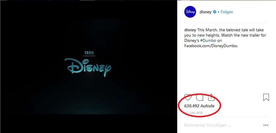 Aufrufe Disney Trailer