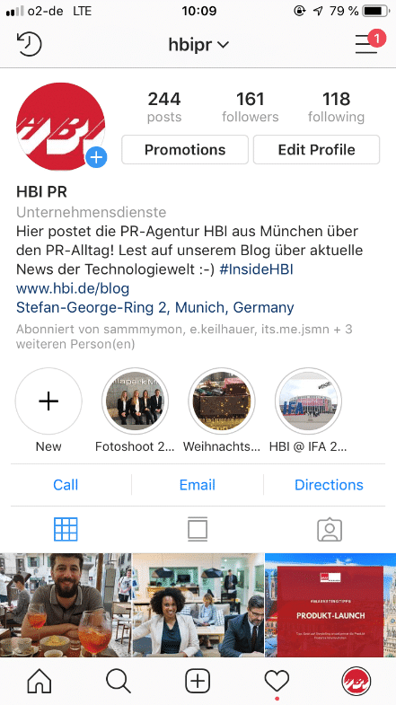Bild von Instagram HBI Profil