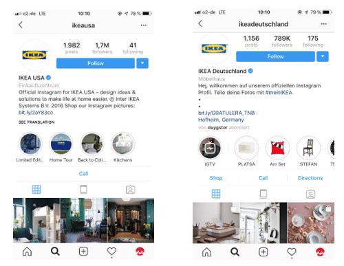 Bild von Instagram Profil Ikea Deutschland und Ikea USA