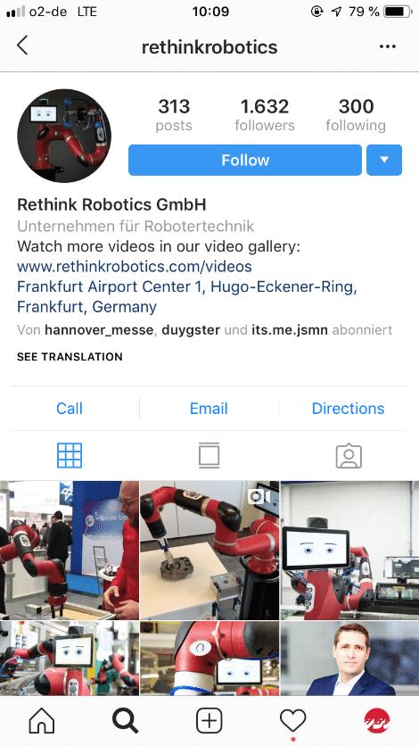 Bild von Instagramseite von Rethink Robotics