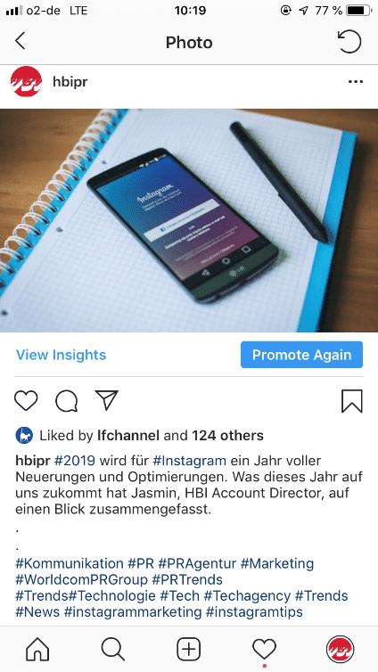 Instagram Profil von HBI