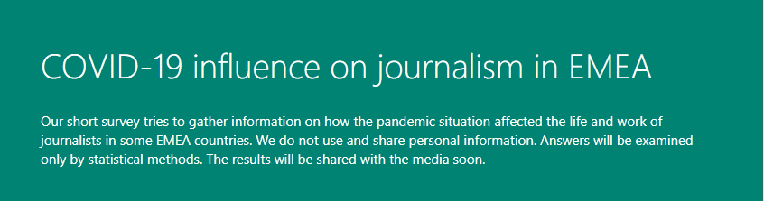 Covid-19 influence on journalism in EMEA